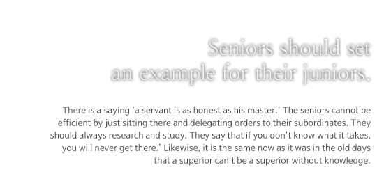 Seniors should set an example for their juniors.