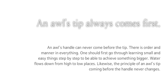 An awl's tip always comes first.